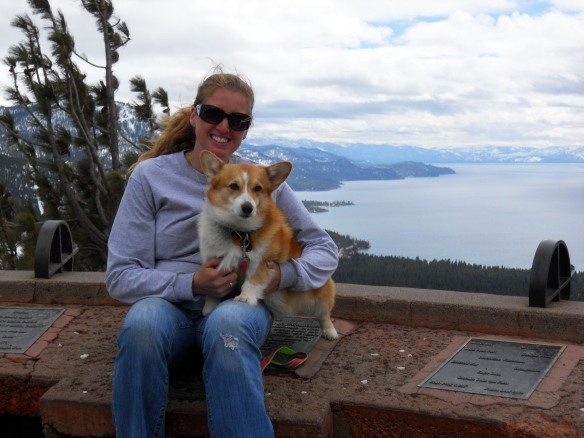 Dally and I in the mountains with Lake Tahoe behind us.