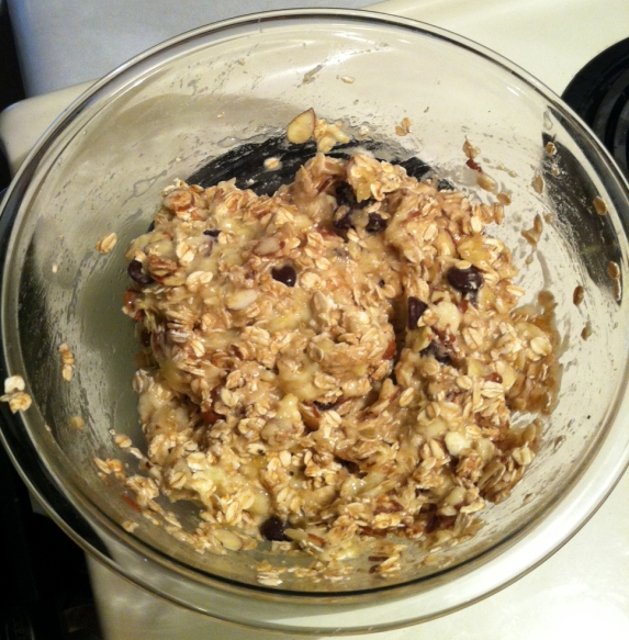 Letting the mixture sit, complete with dark chocolate chips--yum!