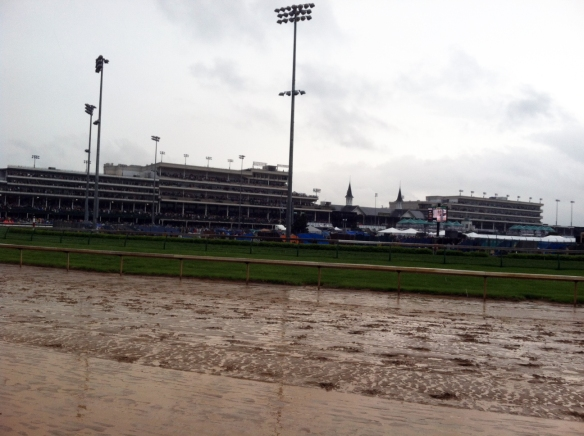 Churchill Downs grandstand from the backside