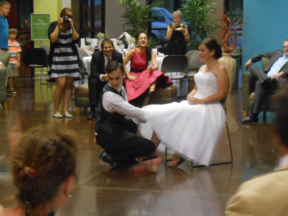 Too funny. Though, I'm still very happy we did not do the bouquet or garter toss at our wedding.